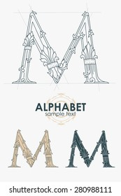 Sign design element. Vector illustration. Abstract ornate curly calligraphic letter of the alphabet - M