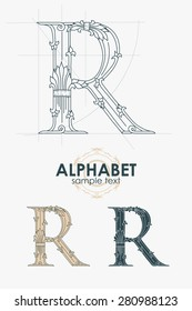 Sign design element. Vector illustration. Abstract ornate curly calligraphic letter of the alphabet - R
