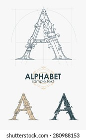 Sign design element. Vector illustration. Abstract ornate curly calligraphic letter of the alphabet - A