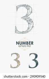 Sign design element. Vector illustration. Abstract ornate curly number - three