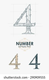 Sign design element. Vector illustration. Abstract ornate curly number - four