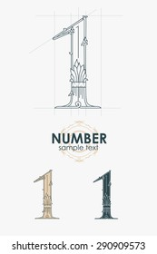 Sign design element. Vector illustration. Abstract ornate curly number - one