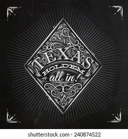 Sign diamonds in vintage style lettering texas holdem all in drawing with chalk on the blackboard