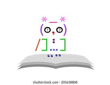 sign education. Owl from signs of a punctuation and the book.
