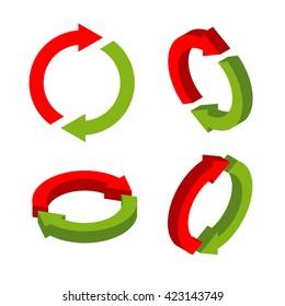 Sign exchange isometric. swap green and red arrows. metathesis icon. Interchange symbol