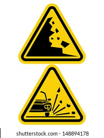 sign of falling rocks and slippery road sign