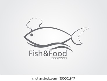 The sign of the fish in a chef's hat