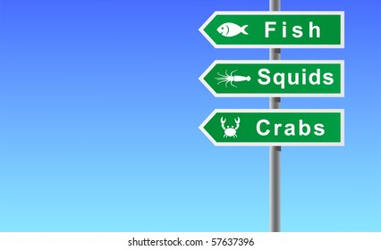 Sign fish squids crabs on sky background.