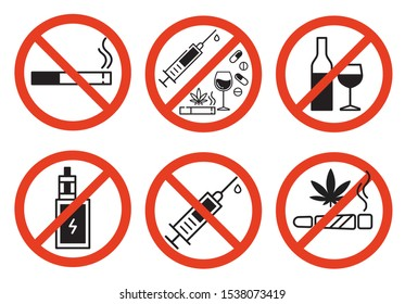 Sign forbidden drugs in red crossed out circle on white background. No smoking, no drugs, no vaping and no alcohol. Isolated vector illustration.