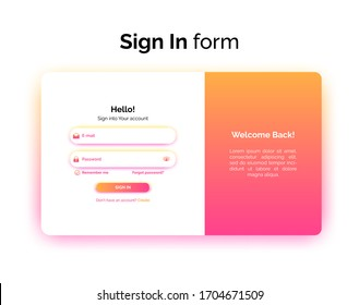 Sign In form, web design UI UX, login interface with gradient, vector illustration