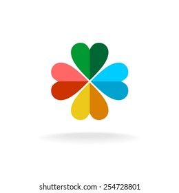 Sign of a four leaves clover from two colors heart shaped figures. Flat paper style logo.