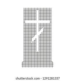Sign gravestone, black on a white background, squares, vector