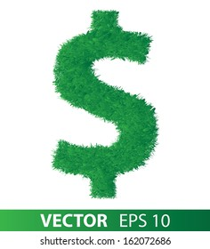 sign of green grass on white background, vector eps 10 illustration
