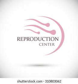 Sign group sperm swimming to egg. Logo. Clinic to restore the reproductive functions of the body. Isolated vector on white background
