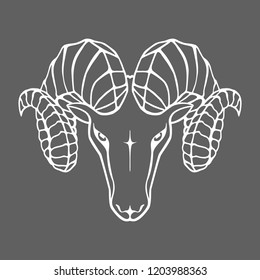 Sign head ram isolated on gray background. Icon aries. Symbol argali. Abstract flat image. vector illustration