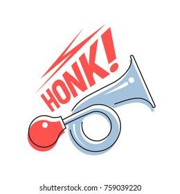 Sign Honk. Vehicle horn. Vector illustration.