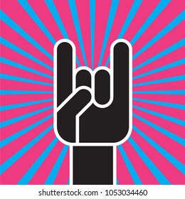 Sign of the Horns Hand Gesture. Flat vector illustration of stylized hand making the classic rock and roll devils horns hand sign against colorful radial background.