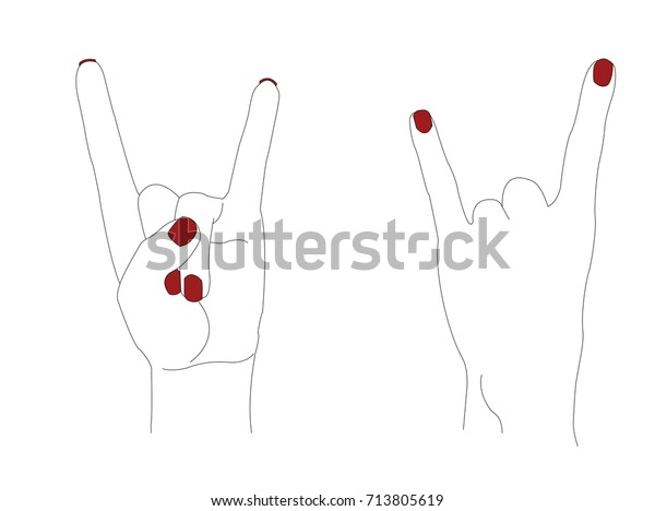 Sign Horns Rock Roll Hand Gesture Stock Vector (Royalty Free