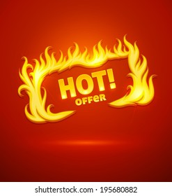 Sign hot offer with burning fire. Eps10 vector illustration