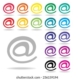 at sign icon set : colorful vector on white background : logo vector