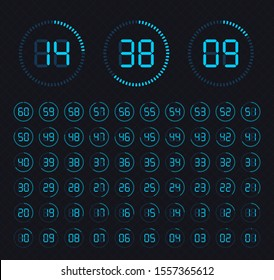 Sign icon. Set vector image of minimalistic clock dial white with black ticks time, different shapes of round and square, isolated on background. Set of timers. The clock with showing minutes.