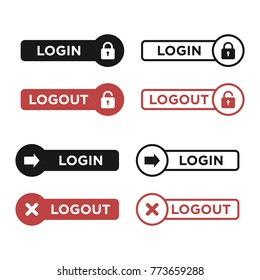 Sign In, Sign Out, Login, Logout Icon Vector Template