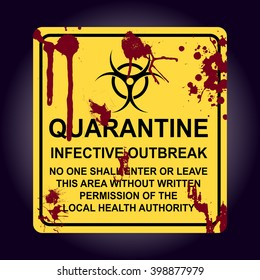Sign of infected area. Quarantine zone. Zombie area. Vectort eps 10