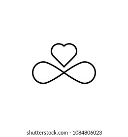 sign of infinity and heart icon. Element of wedding for mobile concept and web apps illustration. Thin line icon for website design and development, app development. Premium icon on white background