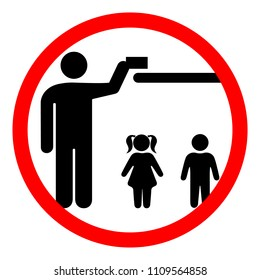 The sign keep away from children or store in a place inaccessible to children. Vector illustration.