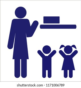 "The sign ""keep away from children"" or ""store in a place inaccessible to children."" Vector illustration."
