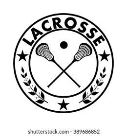 Sign lacrosse in a circle with a star and laurel branches. Vector illustration