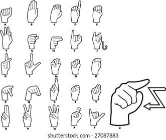 Sign Language Alphabet - vector illustrations