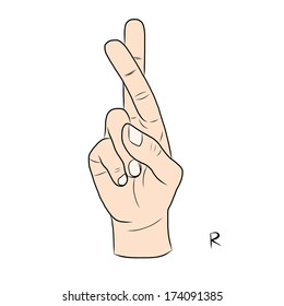 Sign language and the alphabet,The Letter R