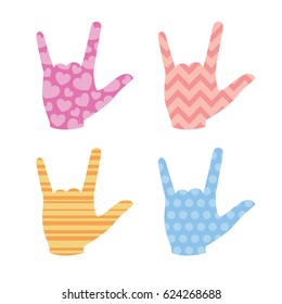 """Sign Language """"I love you"""" signs with patterns"""