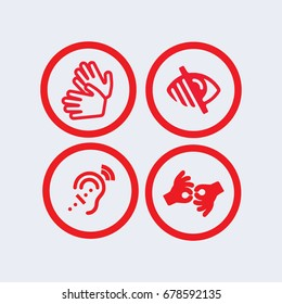 Sign language icon, blind icon.deaf icon.disabled icon, Web Application Icons, Accessibility Icons,signing icon,vector
