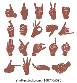 Sign language icon set silhouettes. Monochrome drawing of wrist, hands showing various classic symbol isolated on white background. Vector illustration