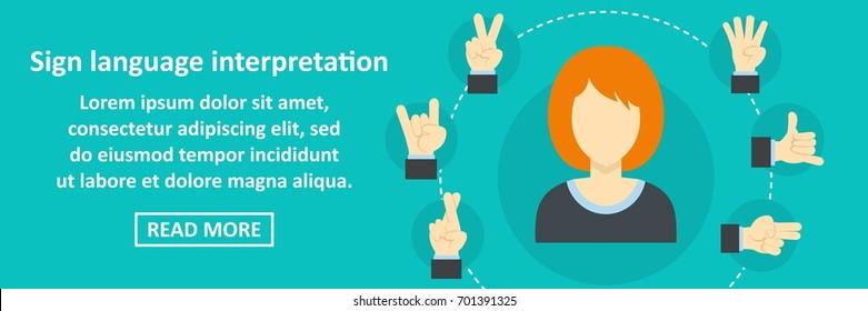 Sign language interpretation banner horizontal concept. Flat illustration of sign language interpretation banner horizontal vector concept for web
