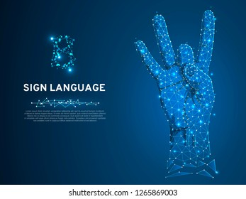 Sign language number eight gesture, fillip, flick, finger kick gesture. Polygonal low poly. Deaf People silent communication alphabet. Connection wireframe. Vector 8 on dark blue background