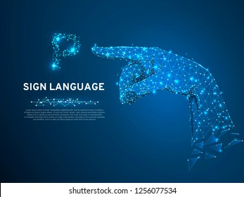 Sign language P letter, Pointing, targeting, showing 3d low poly model of human hand. Neon Polygonal space low poly. People silent communication. Connection wireframe. Vector on dark blue background