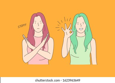 Sign language, stop and ok, opposite emotions concept. Call to stop, prohibition and consent gesture, communication, dialogue, gesticulating young woman, denying and agreeing girl. Simple flat vector