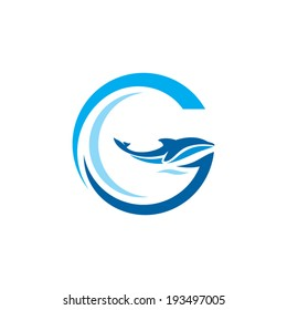 Sign the letter G. Dolphin on the Wave. Water Animal icon. Abstract alphabet, font emblem. Branding Identity Corporate vector logo design template Isolated on a white background
