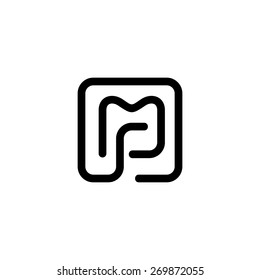 Sign of the letter M and P. Vector Illustration. Branding Identity Corporate vector logo design template Isolated on a white background