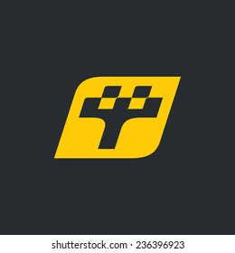 Sign the letter T, Taxi Branding Identity Corporate vector logo design template Isolated on a black background