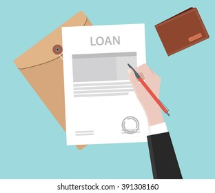 sign a loan application on paper document