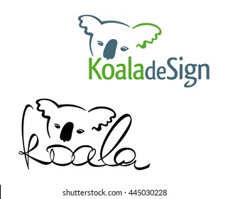 Sign or logo in the form of an Australian tropical animal koala bear, painted in color and black version. Head koalas intertwined with the spelling of the word.