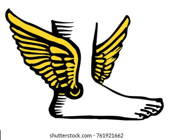 Sign, logo, icon. Hermes, mercury God of trade, profit, intelligence, the winged sandals of the mythological character