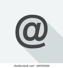 At sign with long shadow on white background. Black symbol in a flat design style. Vector illustration, easy to edit.