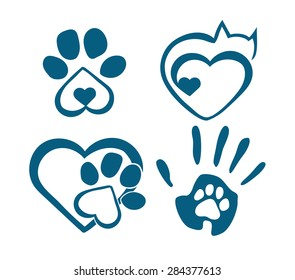 The sign of love for animals with paws, heart and hand