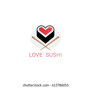 Sign I love sushi. Vector logo of Japanese cuisine in a modern style.