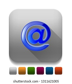 at sign mail icon With long shadow over app button